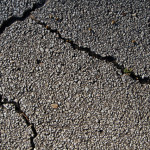 Cracked asphalt surface